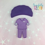 Girl Scrubs Dress Up Outfit ONLY - Embroidery Design 5x7 hoop or larger