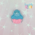 Snowflake Cupcake Feltie ITH Embroidery Design 4x4 hoop (and larger)