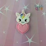 Unicorn Heart Feltie ITH Embroidery Design 4x4 hoop (and larger)