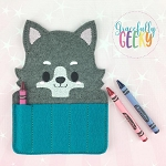 Wolf Crayon Holder Embroidery Design - 5x7 Hoop or Larger