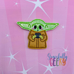Baby Alien Tea (APPLIQUE) Feltie ITH Embroidery Design 4x4 hoop (and larger)