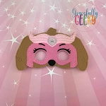 Mighty S Dog Mask Embroidery Design - 5x7 Hoop or Larger