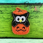 Owl in Pumpkin Feltie ITH Embroidery Design 4x4 hoop (and larger)