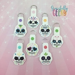 Sugarskull 2019 Snap Keychain SET of 7 ITH Embroidery Design 4x4 hoop (and larger)
