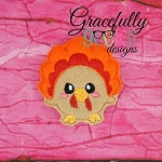 Kawaii Turkey Feltie ITH Embroidery Design 4x4 hoop (and larger)