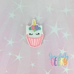 Unicorn Cupcake Feltie ITH Embroidery Design 4x4 hoop (and larger)