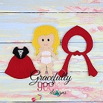 Little Red Dress Girl Outfit  Dress up Outfit (OUTFIT ONLY)- to fit GGD GIRL Dress up dolls - Embroidery Design 5x7 hoop or larger