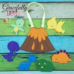Dino Set Busy Bag and Finger Puppets Embroidery Design - 5x7 Hoop or Larger