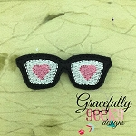 love glasses Feltie ITH Embroidery Design 4x4 hoop (and larger)