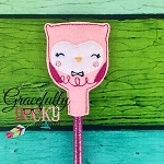 Owl Pencil Topper ITH Embroidery Design 4x4 hoop (and larger)