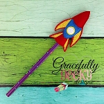 Rocket Pencil Topper ITH Embroidery Design 4x4 hoop (and larger)