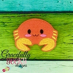 Crabby Feltie ITH Embroidery Design 4x4 hoop (and larger)