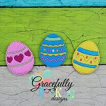 Easter Egg Felties ITH Embroidery Design 4x4 hoop (and larger)