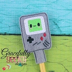 Videogame Pencil Topper ITH Embroidery Design 4x4 hoop (and larger)