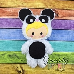 Panda Kid Stuffie ITH Embroidery Design - 4x4 Hoop or Larger