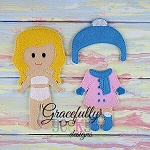 Winter Outfit Dress up Outfit (OUTFIT ONLY)- to fit GGD Dress up dolls - Embroidery Design 5x7 hoop or larger