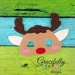 Rudolph Mask Embroidery Design - 6x10 Hoop or Larger