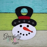 Snowman Door Hanger Embroidery Design - 5x7 Hoop or Larger