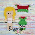 Elf Girl Outfit  Dress up Outfit (OUTFIT ONLY)- to fit GGD GIRL Dress up dolls - Embroidery Design 5x7 hoop or larger