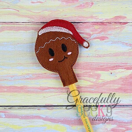 Gingerbread Pecil Topper Ith Embroidery Design 4x4 Hoop