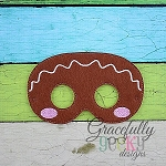 Gingerbread Man Mask Embroidery Design - 5x7 Hoop or Larger