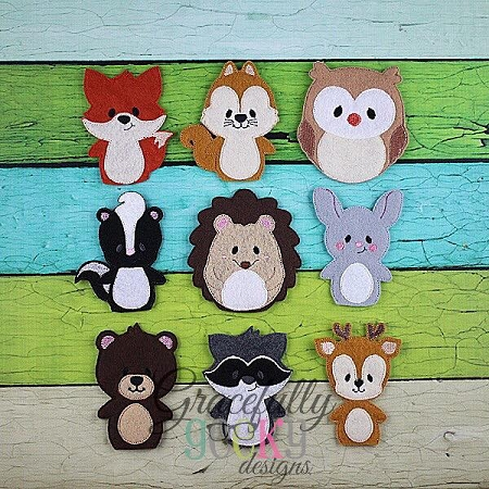 Woodland Animals Finger Puppet Embroidery Design  4x4