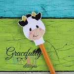 Cow  Pencil Topper ITH Embroidery Design 4x4 hoop (and larger)