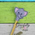 Elephant Pencil Topper ITH Embroidery Design 4x4 hoop (and larger)