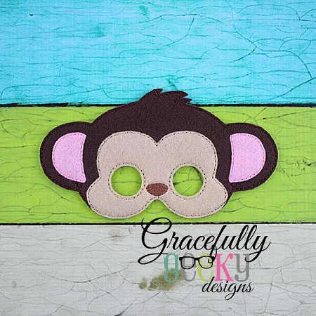 Monkey Mask Embroidery Design 6x10 Hoop Or Larger