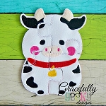 Cow Puzzle with Pouch Embroidery Design - 5x7 Hoop or Larger
