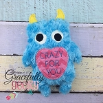 Crazy Love Monster Stuffie ITH Embroidery Design - 5x7 Hoop or larger