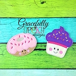 Donut & Cupcake Feltie Food ITH Embroidery Design 4x4 hoop (and larger)  (COPY)