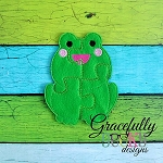 Frog Puzzle with Pouch Embroidery Design - 5x7 Hoop or Larger