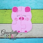 Pig Puzzle with Pouch Embroidery Design - 5x7 Hoop or Larger