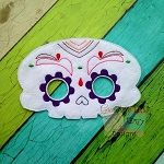 Halloween Sugar Skull Felt Mask 4 Embroidery Design - 5x7 Hoop or Larger