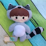 Racoon Kid Stuffie Embroidery Design