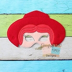 Cowgirl Felt Mask Embroidery Design - 6x10 Hoop or Larger