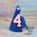 4th Birthday Hat ITH Embroidery Design - 5x7 Hoop or Larger