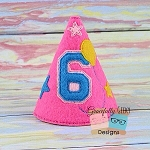 6th Birthday Hat ITH Embroidery Design - 5x7 Hoop or Larger