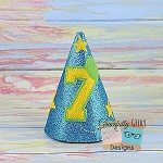 7th Birthday Hat ITH Embroidery Design - 5x7 Hoop or Larger