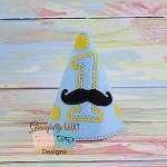 Mustache Bday Hat Embroidery Design - 5x7 Hoop or Larger