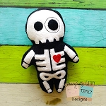 Cute Skeleton Stuffie ITH Embroidery Design - 5x7 Hoop or Larger