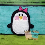 Girl Penguin Feltie ITH Embroidery Design 4x4 hoop (and larger)