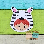 Zebra Kid Feltie ITH Embroidery Design 4x4 hoop (and larger)