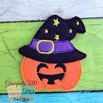 Witch Pumpkin Feltie ITH Embroidery Design 4x4 hoop (and larger)
