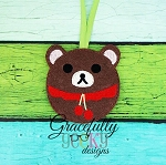 Bear ornament Embroidery Design 4x4 hoop and up