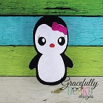 Girl Penguin Stuffie ITH Embroidery Design - 4x4 Hoop or Larger