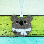Koala ornament Embroidery Design 4x4 hoop and up