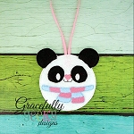 Panda ornament Embroidery Design 4x4 hoop and up