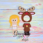 Reindeer Outfit Dress up Outfit (OUTFIT ONLY)- to fit GGD Dress up dolls - Embroidery Design 5x7 hoop or larger  (COPY)